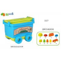 """Wholesale 17 """" Toddlers Building Blocks Wagon Children's Play Toys 32 Pcs Blue Pink Big Wheel from china suppliers"""