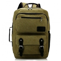 Wholesale Colleges Army Green Vintage Canvas Rucksack With Handle from china suppliers