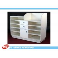 5 Layers MDF White Shop Cash Counter Desk For Shop Payment , 3 Drawers