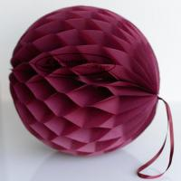 Wholesale DIY Burgundy Tissue Paper Honeycomb Balls Pom Poms With Loop For Hanging from china suppliers