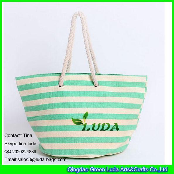 Luda Striped Summer Shopper Bag Large Cheap Paper Straw