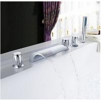Chrome Two Handles Waterfall Widespread Tub Faucet T001-19