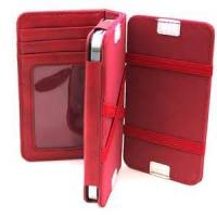 Wholesale Durable Red PU Leather Iphone Protective Case with Card Holder , iPhone 4 cover from china suppliers
