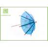 Blue Umbrella Decorative Food Toothpicks For Fruit Decoration Free Sample