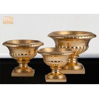 Quality 3 Sizes Classic Fiberglass Flower Pots Gold Leafed Finish Poly Resin Planters for sale