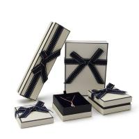 China Rectangle Fancy Jewelry Box With Ribbon Bow Customized Size And Logo on sale