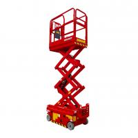 Wholesale Red Color 5.6m 18ft Height Lift Upright Scissor Lift Reinforced Working Platform from china suppliers