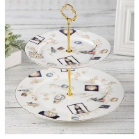 Wholesale Elegant 2 Layer Cake Stand 27cm Porcelain Serving Set from china suppliers