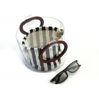 Wholesale Canvas Round Shape Navy Blue Clutch Bag Stripe Pattern With Wood Handle 0.8 MM from china suppliers