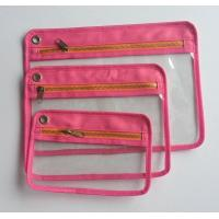 Wholesale A4 Canvas Fabric Zipper Bank Bags with Transparent PVC windows from china suppliers