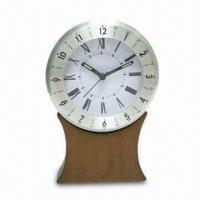 Wholesale Novelty Desk Analog Clock with Wood Base and Metal Case from china suppliers