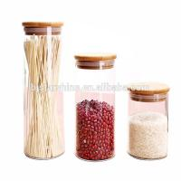 Wholesale High borosilicate 500ml small pyrex glass storage jar glass jar with bamboo lid from china suppliers