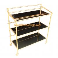 Cheap bamboo iron frame with black mirror bar cart on wheels wholesale