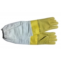 Wholesale #13 Yellow  Goat Skin  And Smoothy Leather Wrist Protector  And White Cloth Sleeve   Bee Glove from china suppliers
