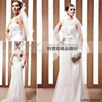 Wholesale embroidered lace wedding gowns,  graceful empire lace wedding gowns 90025 from china suppliers