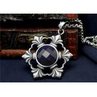China Round Circle Stainless Steel Necklace Silver Chain With Prong Set Jet Black Zircon wholesale