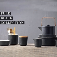 Wholesale SGS Fired Pure Black 120cc Fine China Teapots Set With Cup Saucer from china suppliers