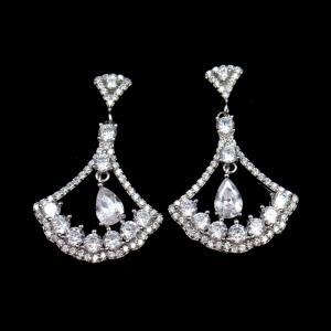 Triangle Shape Silver Cubic Zirconia Drop Earrings Charm / Vintage Jewelry
