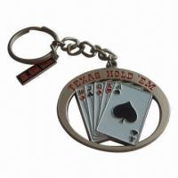 Wholesale Metal/Poker Keyring with Laser Imprint or Silkscreen Printing, OEM Orders Welcomed from china suppliers