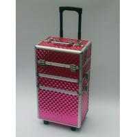 Three Layers Aluminum Makeup Trolley Case With Pink Color