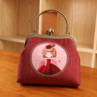 Wholesale Lady Vintage Velvet Rose Flower Kiss Lock Wallet Clutch Card Holder Coin Bag Pouch Purse from china suppliers