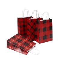 Wholesale Grid Pattern Custom Printed Carrier Bags , Brown Paper Gift Bags Size 16 X 8 X 22 Cm from china suppliers