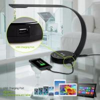 New design ABS modern elegant office desk lamp led with QI wireless charge USB port 5 level brightness