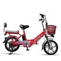 Wholesale Red Hybrid Lithium Bicycle Steel Frame Easy Bike Electric Bike 35Km - 40 Km from china suppliers