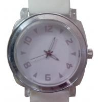 Wholesale White Big Face Quartz Silicone Wristband Watch Stainless Steel Back Case from china suppliers