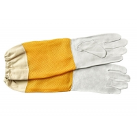 Wholesale White Sheepskin Beekeeping Gloves with Ventilated Yellow Gridding Proof from china suppliers