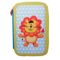 China Customized School 3 Compartment Pencil Case Lion Pattern Silk Printing wholesale