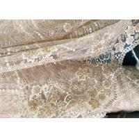 Champagne Gorgeous Flowers Sequin Lace Fabric With Dot Scalloped For Party Gown