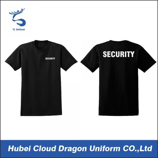 O neck black security guard t shirts short sleeves custom for Custom work shirts cheap
