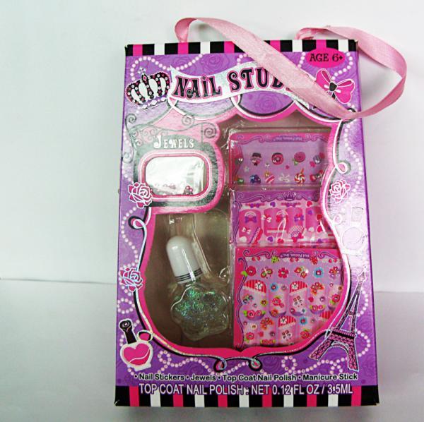 Pink Nail Polish Top Coat: Pink Sticker Fake Nails Art Kit , Top Coat Nail Polish
