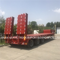 Wholesale Customized 3 Axles low bed flatbed semi trailer mounted crane transport flatbed gooseneck trailer from china suppliers