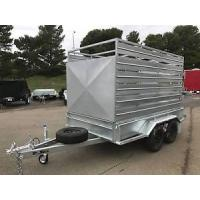 Heavy Duty Cattle Crate Trailer With Stock Crates , Tandem 12 x 6 Box Trailer