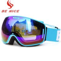 Wide View Blue Mirrored Ski Goggles Professional Outdoor Sports Equipment