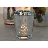 Quality Mercury Glass Candle Holders Votive Set Wedding Decoration with Laser Numbers for sale