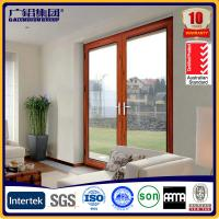 China wooden color aluminium glass double sashes swing doors on sale