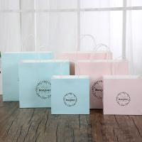 Wholesale Light Blue / Pink Personalized Paper Gift Bags 150gsm White Kraft Paper Material from china suppliers