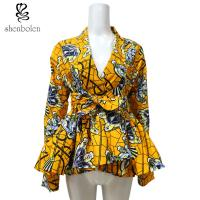 Ruffle Hem Belt African Print Tops For Spring / Autumn Long Sleeve Yellow Color