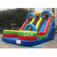 Wholesale 5mts high big double lane inflatable slide with arch made of 0.55mm pvc tarpaulin from china suppliers