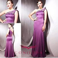 Wholesale graceful purple geometrical one shoulder beaded celebrity cocktail gowns from china suppliers