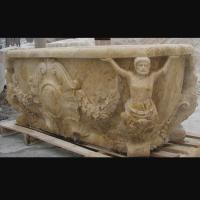 Wholesale Hotel Deocration Beige travertine bathtub with figure statue carving for bathroom,china sculpture supplier from china suppliers