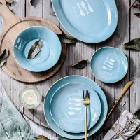 Wholesale 8 Inch 20cm Aqua Blue Ceramic Stoneware Dinnerware Sets from china suppliers
