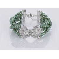 Ladies Latest Fashion Jewelry Costume Pearl Bracelets With Diamond Green Color