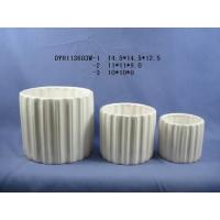White Cylinder Shaped Indoor Ceramic Plant Pots With Marble Or Ice Effect