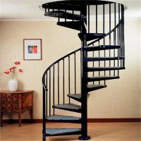 Indoor / Outdoor Powder Coated Black Metal Spiral Staircase Price / Prefab  Stairs