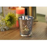 Mercury Glass Candle Holders Votive Set Wedding Decoration with Laser Numbers