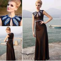 Wholesale modest black dinner gowns,  embroidered pattern evening dinner gowns from china suppliers